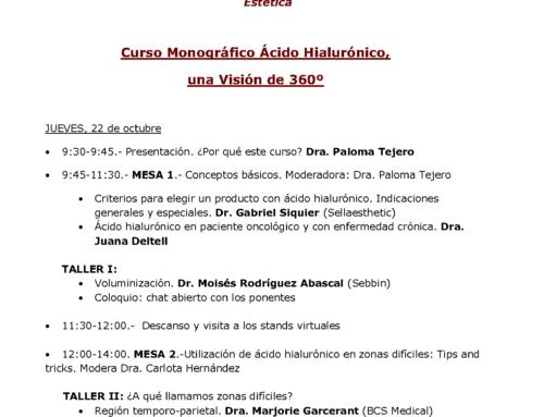 Programa de las IX Jornadas Canarias de Medicina Estética en colaboración con las XIII Jornadas de la Ameclm