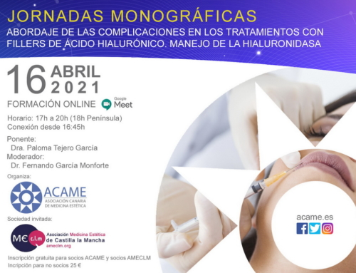 Inscripción en las Jornadas monográficas: Abordaje de las complicaciones en los tratamientos con fillers de ácido hialurónico. Manejo de la hialuronidasa